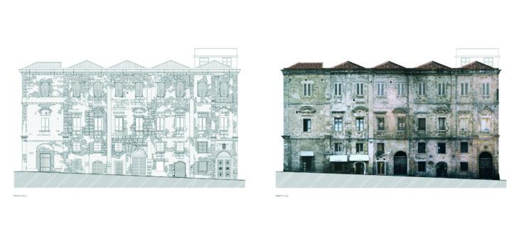 """Progetto di restauro del """"Palazzo Simon"""" in via G. Ferret (Ed.vinc. L.1089-39) 1"""